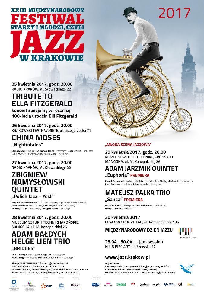 """XXIII Międzynarodowy Festiwal """"Starzy i Młodzi, czyli Jazz w Krakowie""""."""