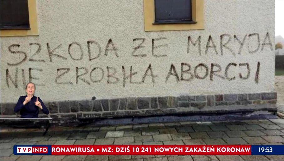 """Protest, Trybunał Konstytucyjny, aborcja, Gliwice: """"Szkoda, że Maryja nie  zrobiła aborcji"""". Kolejny atak obrażający uczucia religijne wieszwiecej -  tvp.info"""