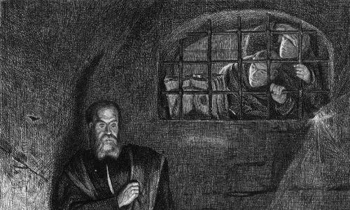 Włoski astronom, filozof i fizyk Galileo w rzekomym więzieniu za swoje naukowe wyznanie wiary, około 1620 r. Oryginalna publikacja: People Disc - HD0131. Fot. Hulton Archive / Getty Images