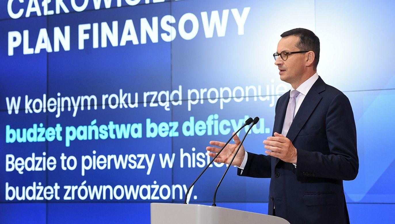 """""""Polski budżet przestał być bankomatem dla przestępców podatkowych"""" – powiedział premier Mateusz  Morawiecki (fot. PAP/Radek Pietruszka)"""