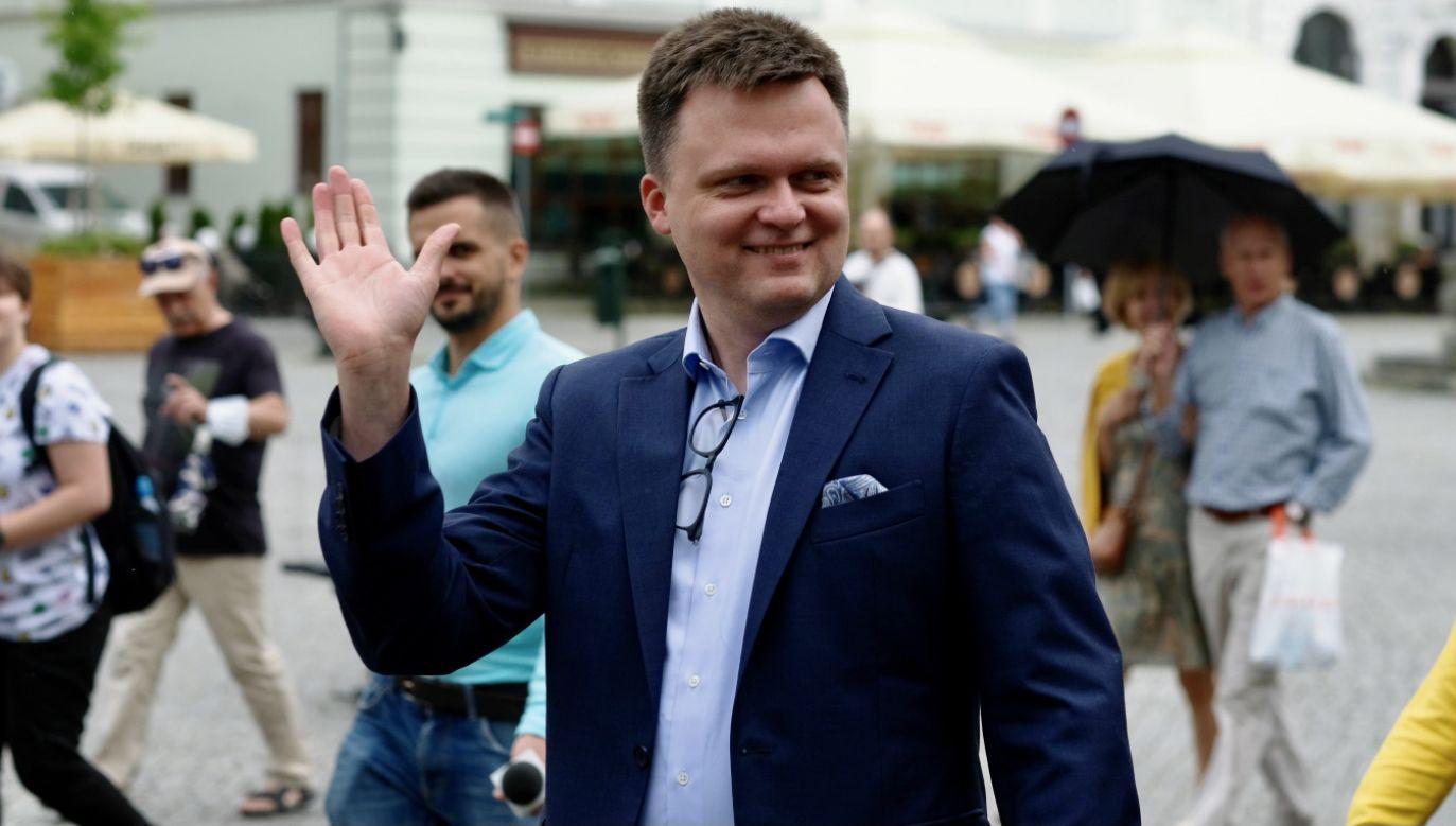 Szymon Hołownia odwiedził w piątek Żywiec (fot. PAP/Andrzej Grygiel)