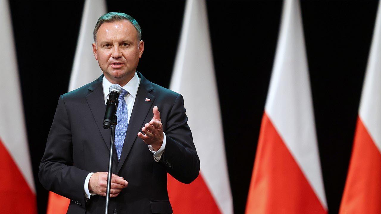 Andrzej Duda o sytuacji na granicy polsko-białoruskiej (fot. PAP/Andrzej Grygiel)