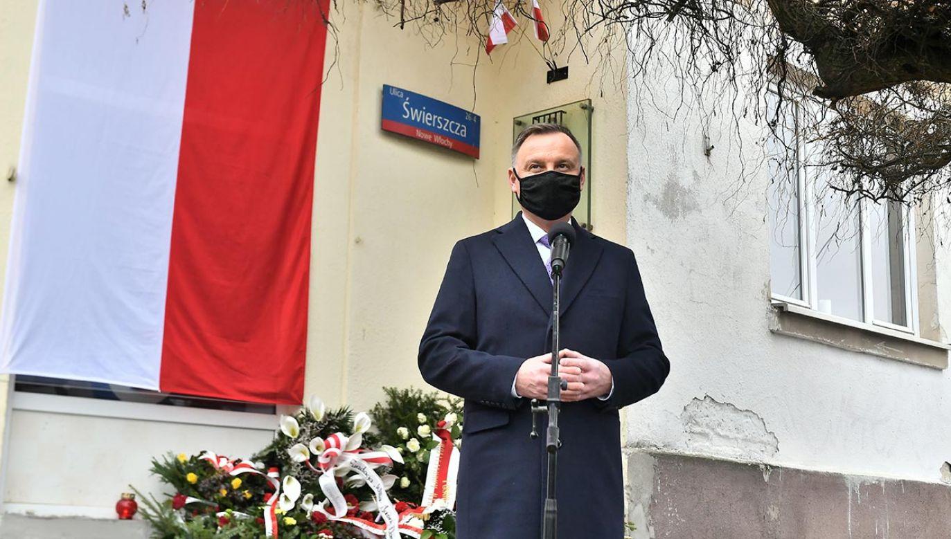 Andrzej Duda mówił o potrzebie pamięco o Wyklętych (fot. PAP/Andrzej Lange)