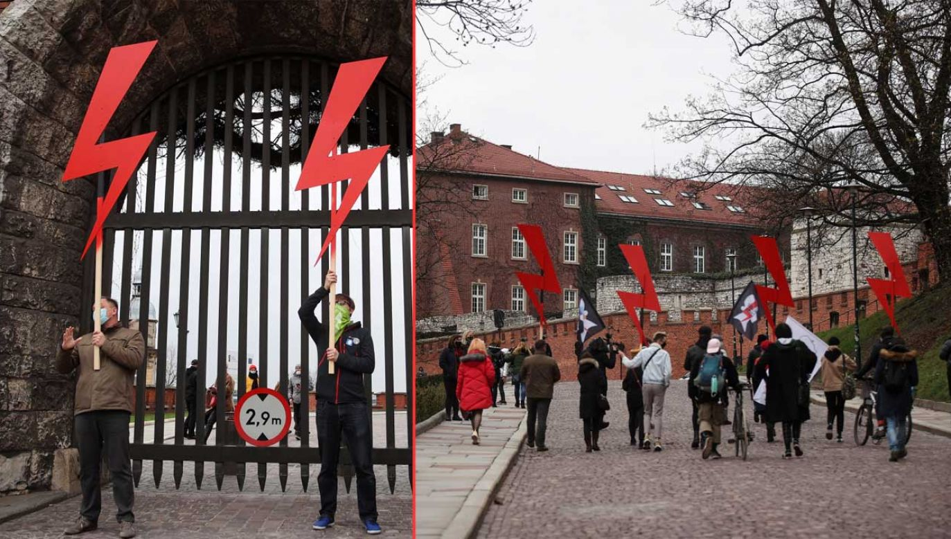 Tzw. Strajk Kobiet próbował zablokować wjazd na Wawel (fot. PAP/Łukasz Gągulski)