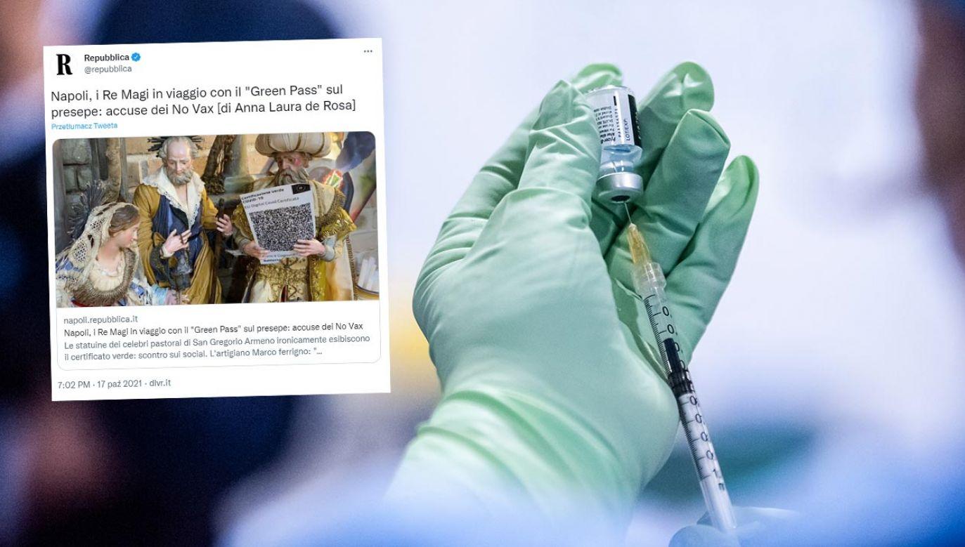 We Włoszech zaszczepionych jest ponad 80 proc. ludności  (fot. Valeria Ferraro/SOPA Images/LightRocket via Getty Images; Twitter/Repubblica)