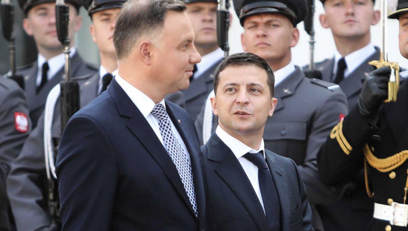 Sprawa ekshumacji była omawiana podczas rozmów prezydenta Zełenskiego z prezydentem Dudą (fot. arch.  PAP/Wojciech Olkuśnik)
