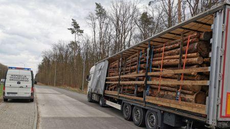 Źle zabezpieczony transport drewna (fot. GITD)