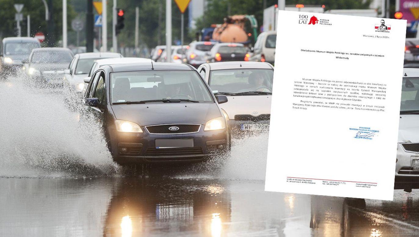 Rzeczniczka ratusza napisała, że za zalanie Wisłostrady odpowiada MWP (fot. PAP/Jakub Kamiński)