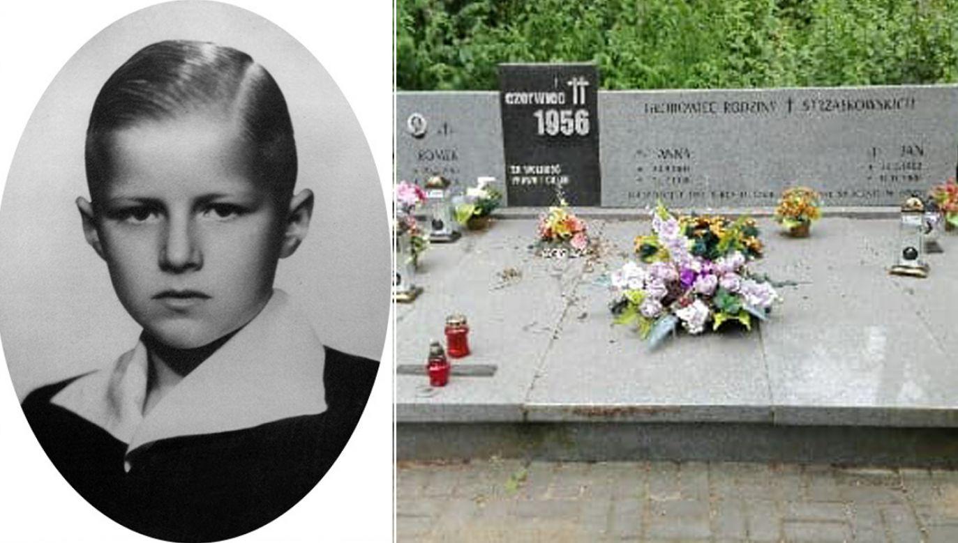 Zdjęcie Romka Strzałkowskiego i grób, w którym spoczywa (fot. FB/Muzeum Powstania Poznańskiego - Czerwiec 1956, oddział WMN)