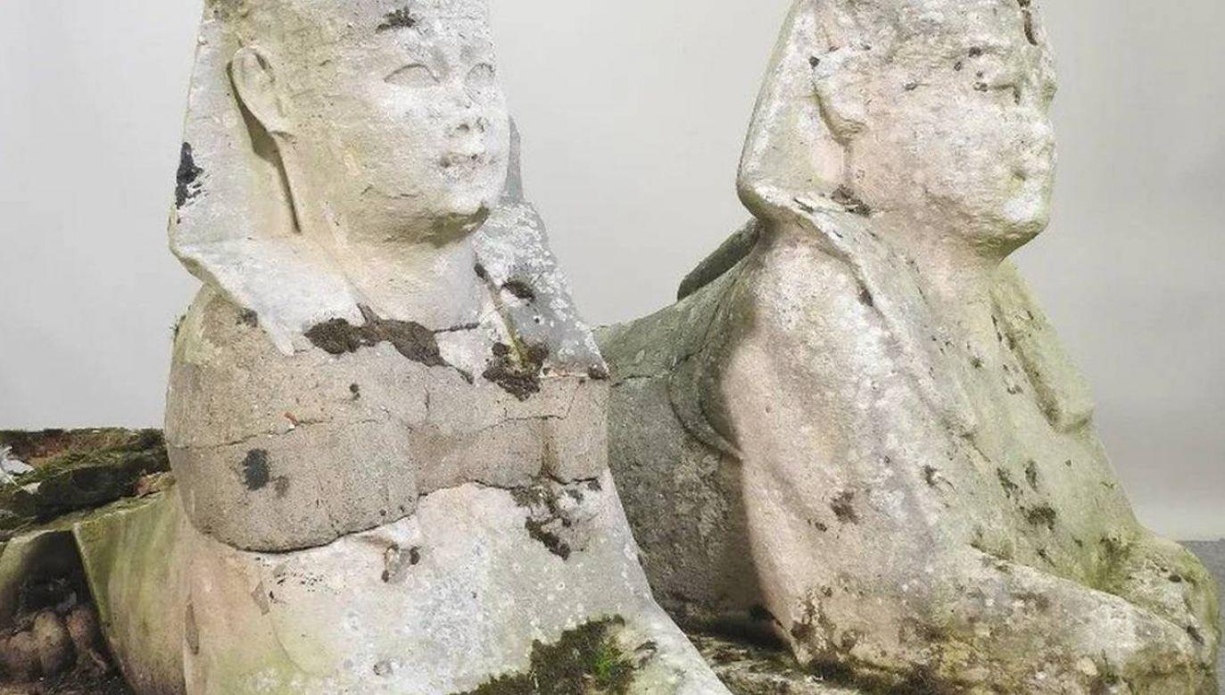 Sfinksy kupione za 300 funtów były warte majątek (fot. Mander Auctioneers/mat.pras.)