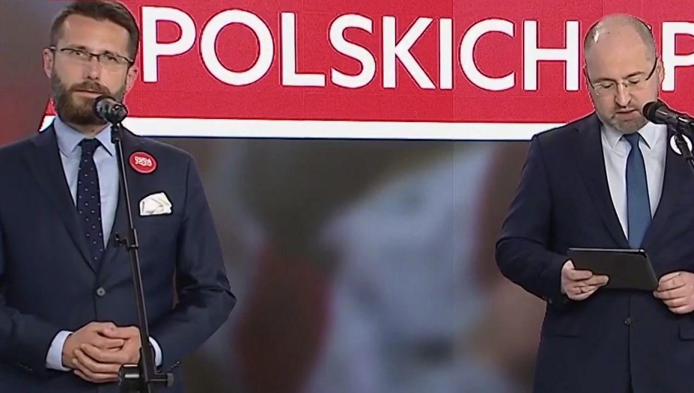 """Jak ocenił Adam Bielan, to jest """"hańba Platformy Obywatelskiej"""" (fot. TVP Info)"""