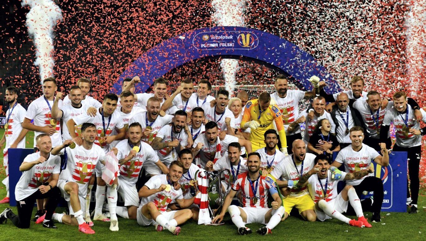 Zdobywcy piłkarskiego Pucharu Polski - drużyna Cracovii, 24 bm. W meczu finałowym,