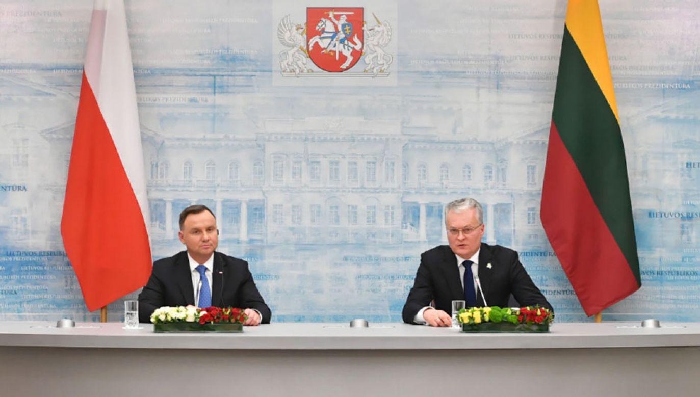 Prezydent Andrzej Duda oraz prezydent Litwy Gitanas Nauseda (fot. PAP/Piotr Nowak)