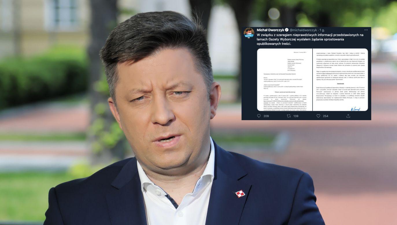 Szef KPRM Michał Dworczyk (fot. PAP/Wojciech Olkuśnik, Twitter.com)