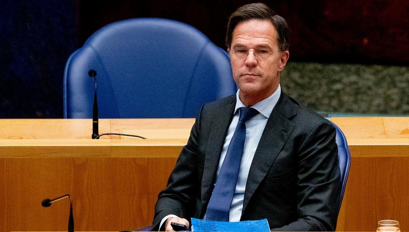 Podczas negocjacji budżetowych Mark Rutte budowa koalicję przeciwko Polsce i Węgrom (fot.  Niels Wenstedt/BSR Agency/Getty Images)