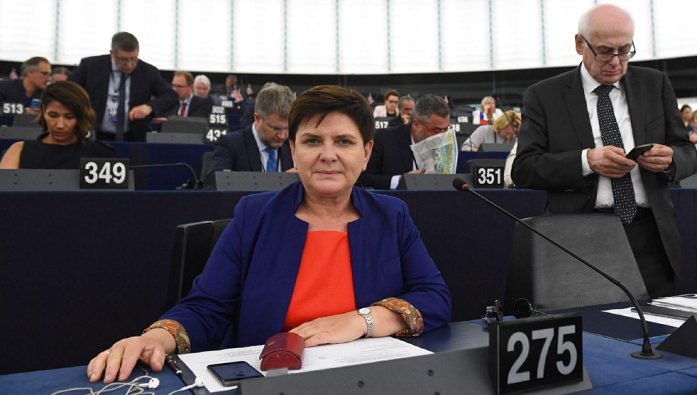 Eurodeputowana Beata Szydło w Parlamencie Europejskim w Strasburgu (fot. PAP/Radek Pietruszka)
