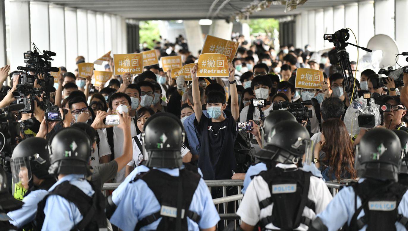 Od kilku dni odbywały się w Hongkongu masowe protesty (fot. PAP/EPA/Edwin Kwok)