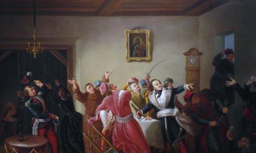 Pułaski w Barze, obraz pędzla Kornelego Szlegla