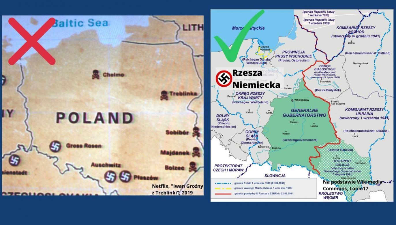 Mapa Polski przedstawiona w serialu Netflixa i mapa udostępniona przez MSZ  (fot. Twitter/MSZ)