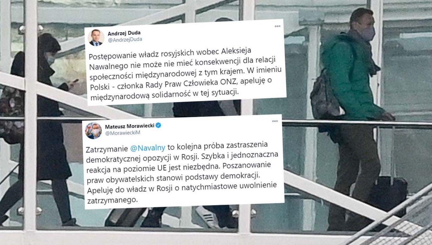 Aleksiej Nawalny został zatrzymany chwilę po przylocie do Moskwy (fot. PAP/EPA/FILIP SINGER)