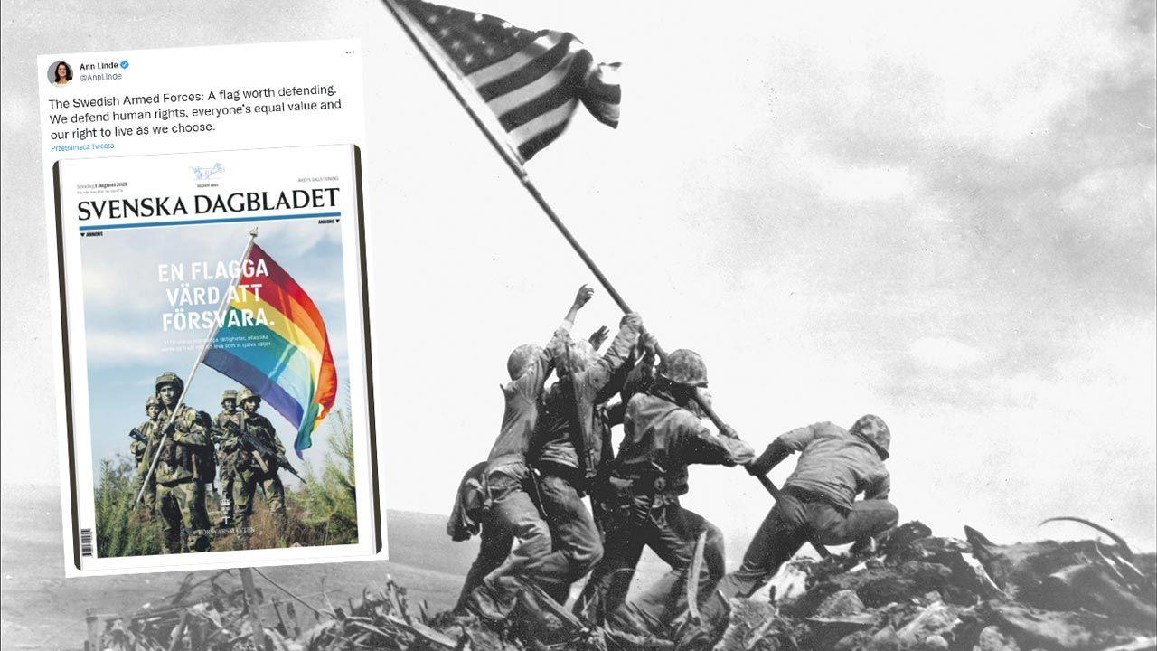 Kampania LGBT szwedzkiego wojska nawiązuje do słynnego zdjęcia z 1945 roku (fot.  Joe Rosenthal/Photo 12/Universal Images Group via Getty Images; Twitter)