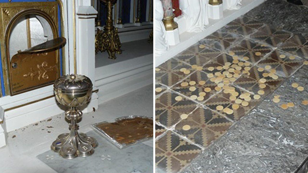 W kościele w Tonnay-Charente rozbito tabernakulum z hostią. (fot. Facebook/Eric Authiat)