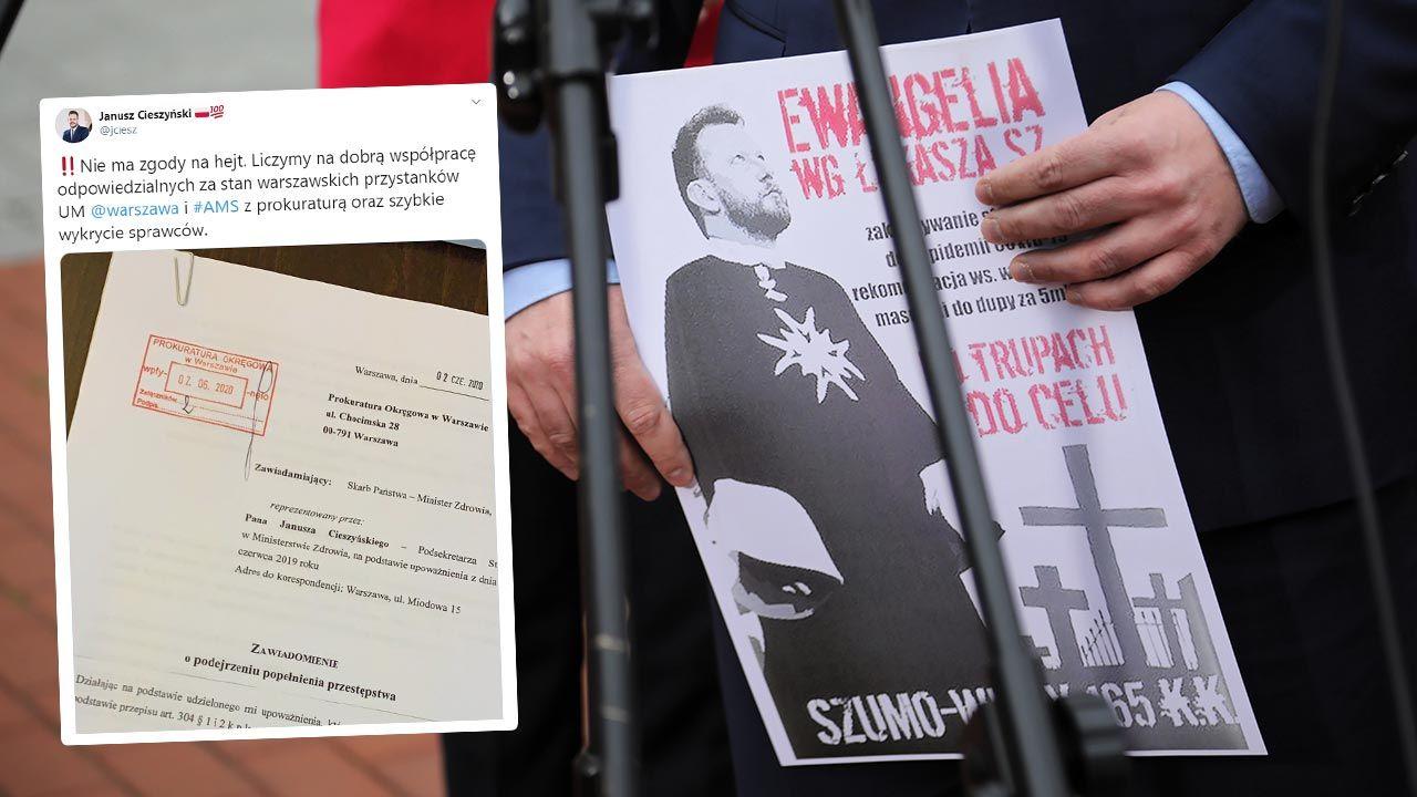 Chodzi o plakaty rozwieszone na przystankach w stolicy (fot. PAP/Wojciech Olkuśnik)