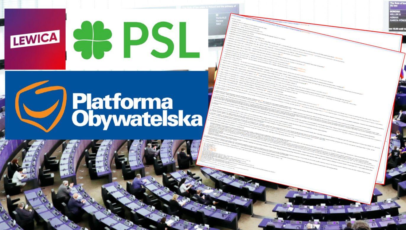 """Kto z polskich europosłów głosował """"za"""" rezolucją PE? Nazwiska (fot. Albert Zawada, arch. własne, logo PSL, logo PO, logo Lewica)"""