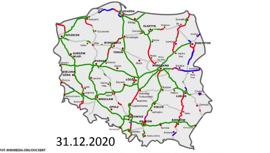 Stan dróg ekspresowych i autostrad.  Na zielono drogi istniejące, na czerwono w budowie, na niebieskie na etapie przetargu, na szaro planowane (Fot. Wikimedia.org/Docxent)