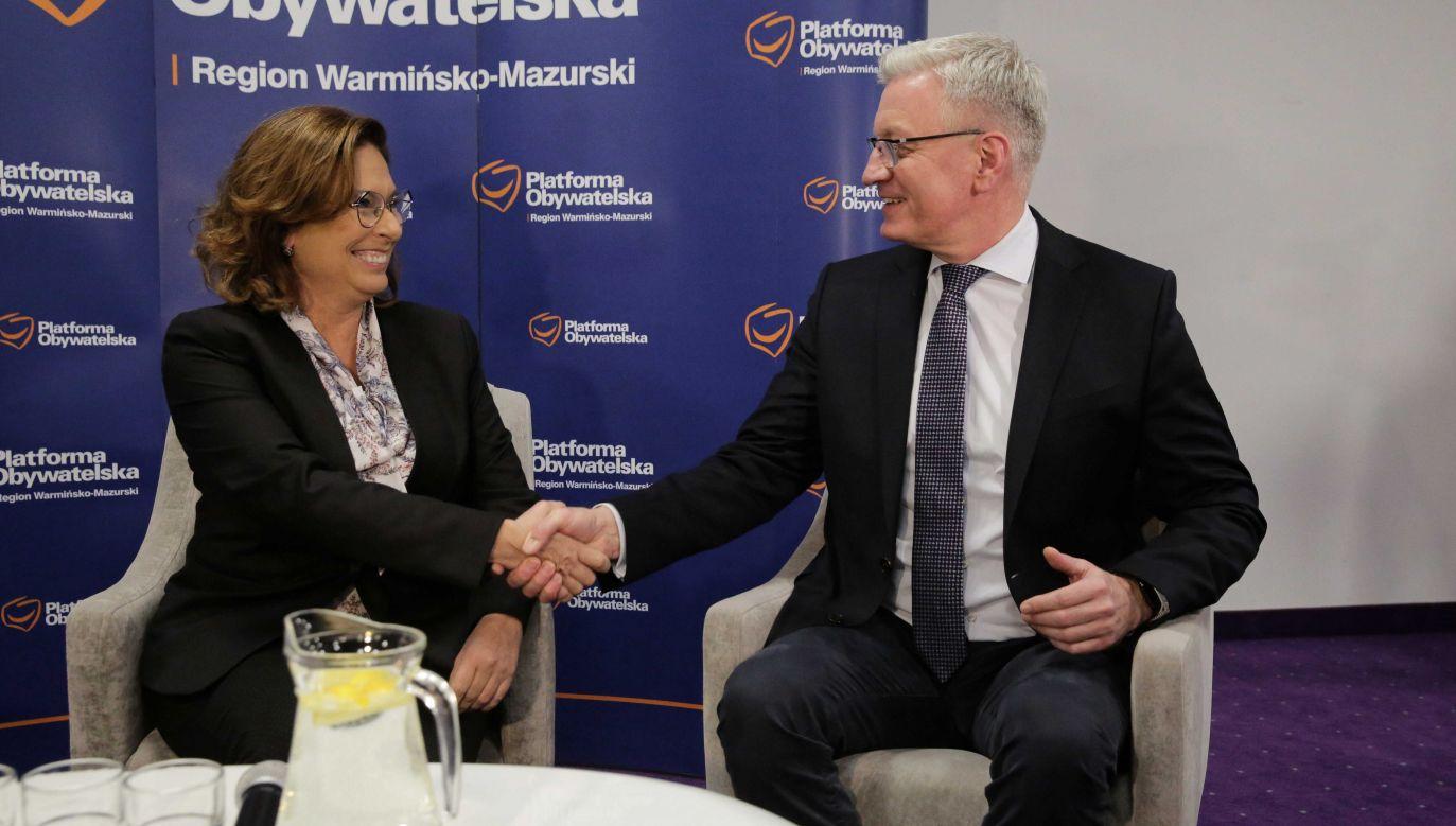 Kandydaci w prawyborach PO: Małgorzata Kidawa-Błońska i Jacek Jaśkowiak (fot. PAP/Tomasz Waszczuk)