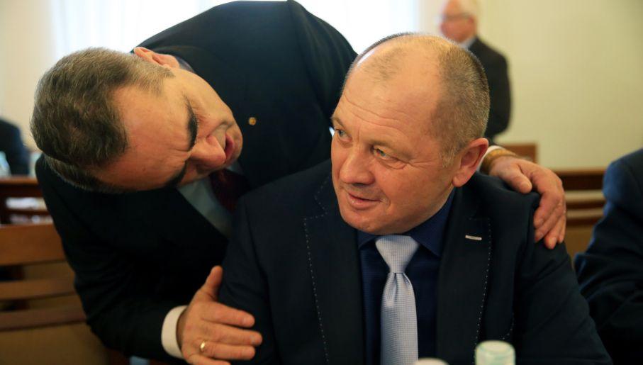 Politycy PSL: Eugeniusz Grzeszczak i minister rolnictwa Marek Sawicki (fot./Tomasz Gzell)