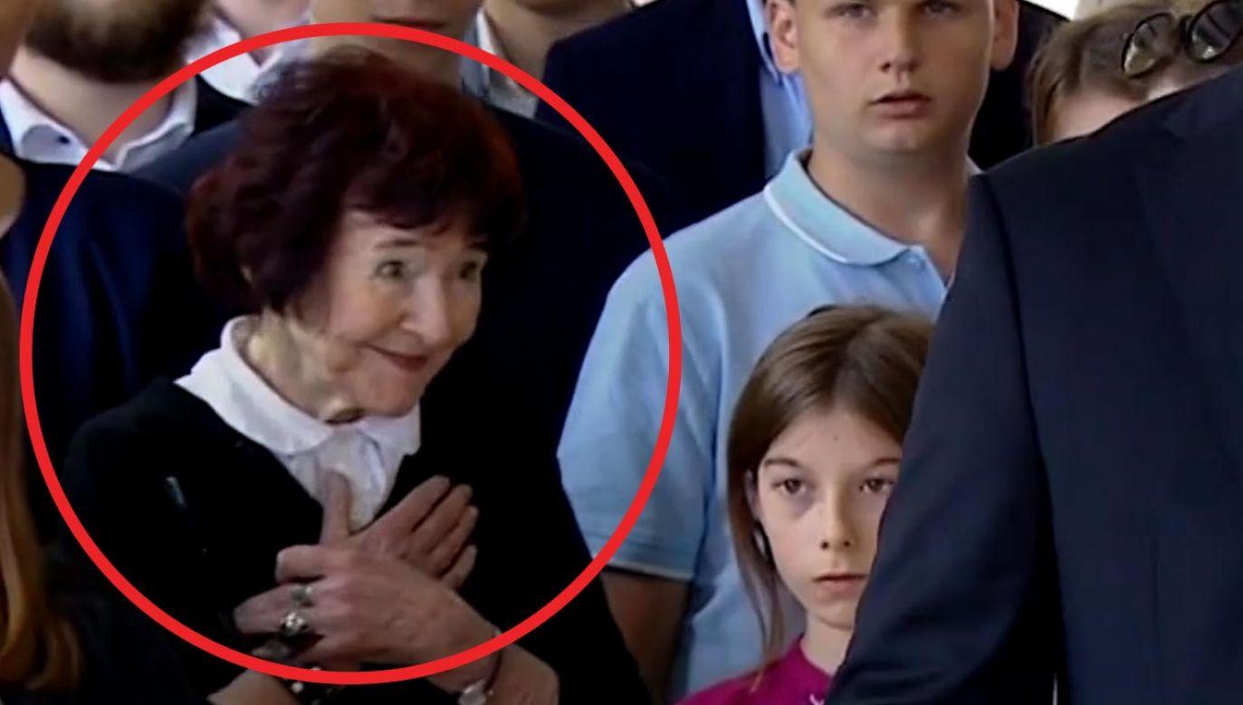 Zofia Pilecka-Optułowicz zadeklarowała poparcie w wyborach dla prezydenta Andrzeja Dudy (fot. TVP Info)
