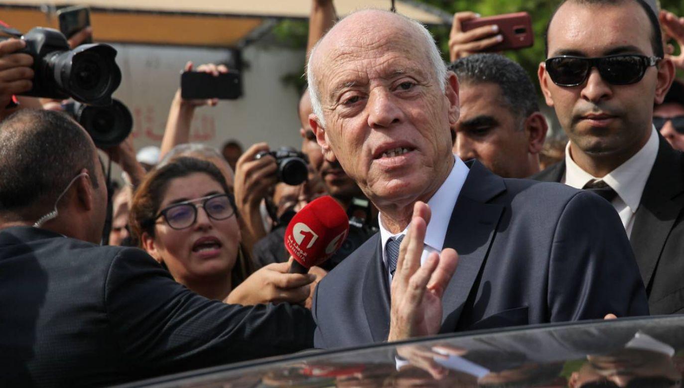 Prezydent Tunezji Kais Saied wykorzystał niezadowolenie społeczne (fot. Chedly Ben Ibrahim/NurPhoto via Getty Images)