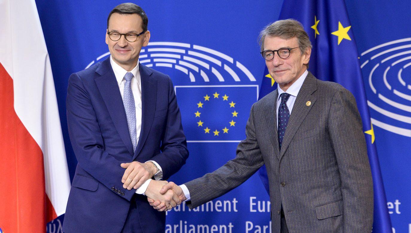 """""""Wysłuchaliśmy uważnie, co miał nam do powiedzenia premier Morawiecki"""" – mówił po wystąpieniu premiera David Sassoli, przewodniczący PE   (fot. D.Hommel/© European Union 2019/EP)"""