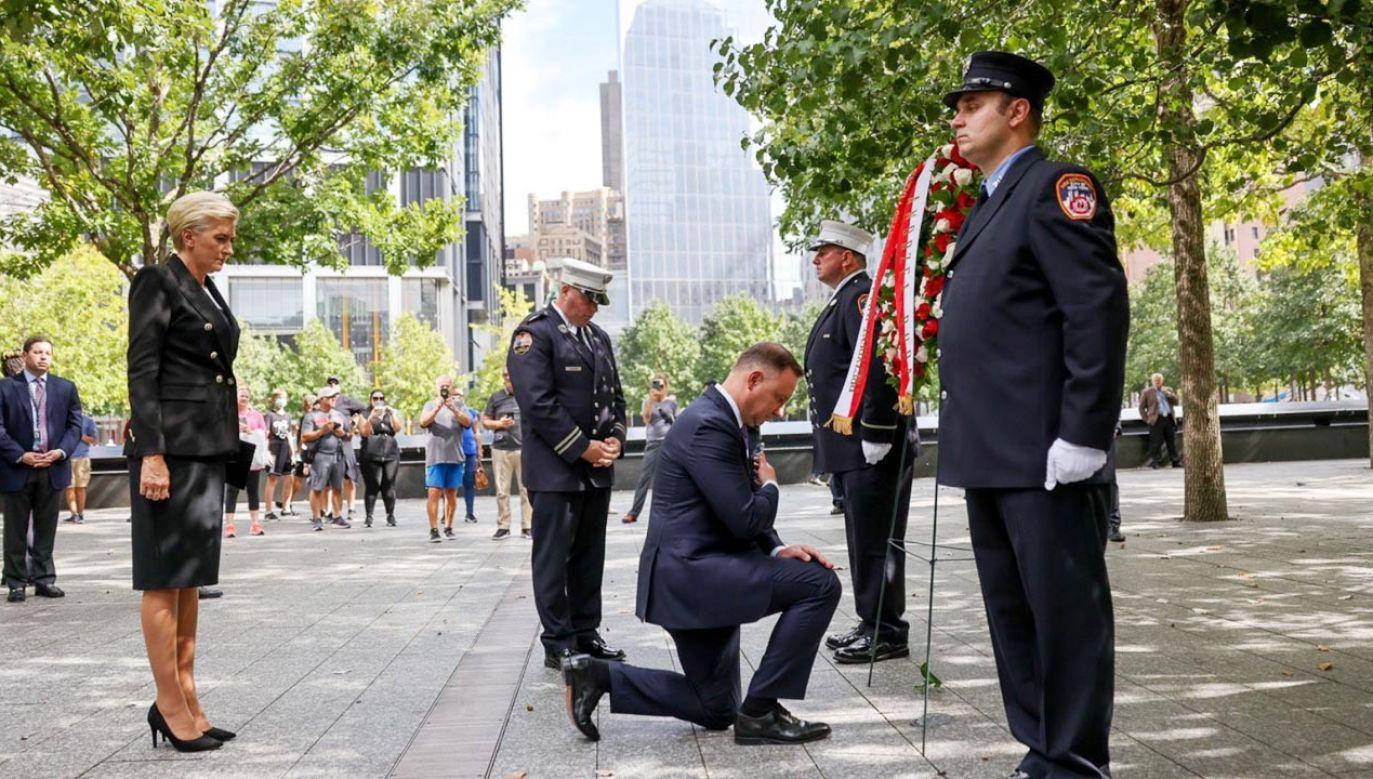 Para prezydencka złożyła wieniec w Strefie Zero w Nowym Jorku (fot. Grzegorz Jakubowski/KPRP)