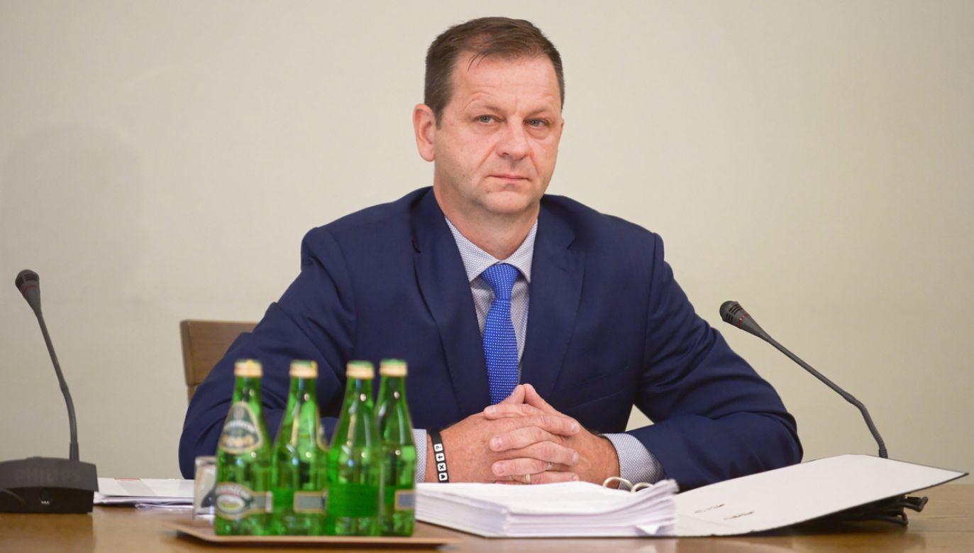 Przewodniczący Związku Zawodowego Celnicy PL Sławomir Siwy (fot. PAP/Marcin Obara)