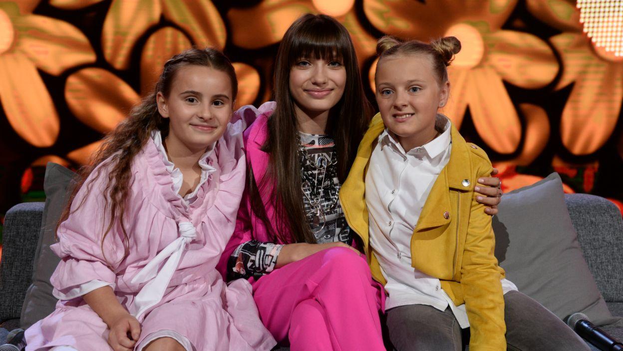 """W finale programu """"Szansa na Sukces. Eurowizja Junior 2019"""" zmierzyły się ze sobą trzy zwyciężczynie trzech poprzednich odcinków (fot. J. Bogacz/TVP)"""
