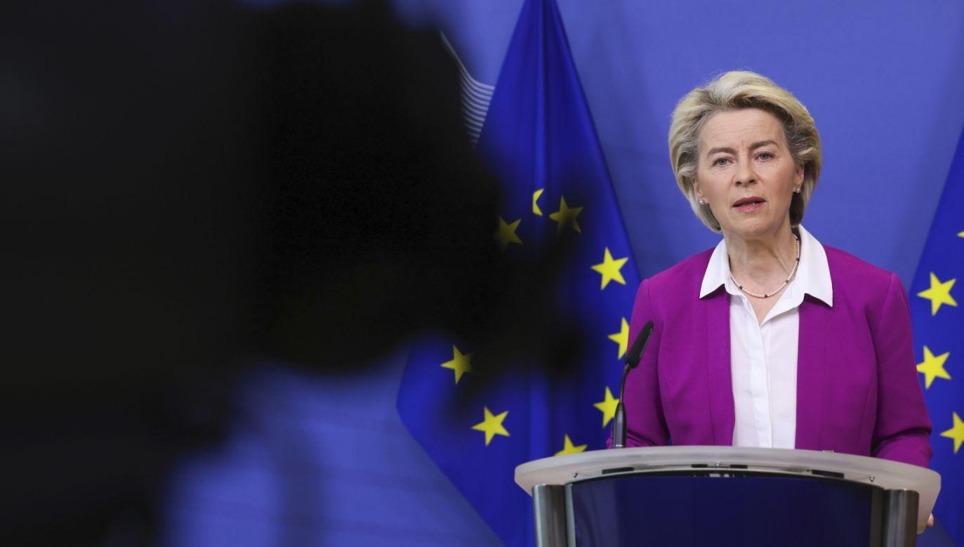 Szefowa Komisji Europejskiej Ursula von der Leyen (fot. EPA/YVES HERMAN / PAP/EPA)