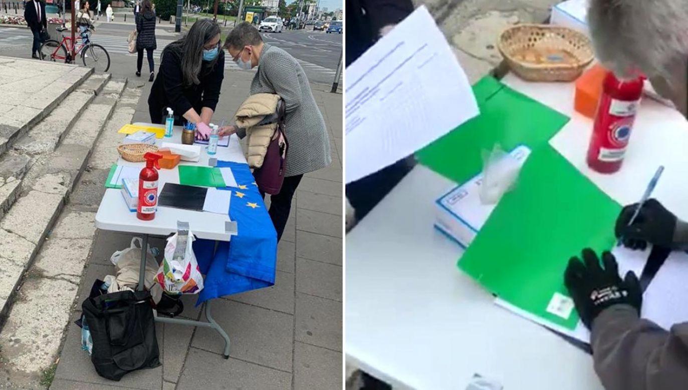 Działacze nie okazali zdziwienia, gdy internauta mówił o składaniu podpisów wcześniej, w urzędzie dzielnicy (fot. portal tvp.info)