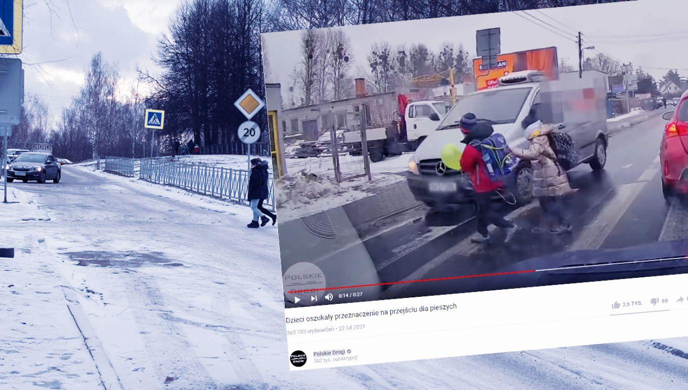 Kierowca prawie rozjechał dzieci (fot. Shutterstock; YouTube/ Polskie Drogi)