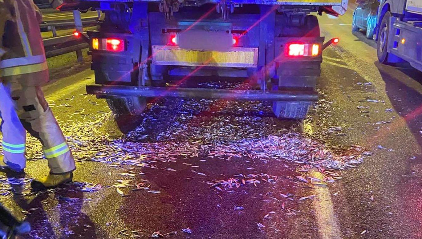 W sprzątaniu kierowcy pomogli strażacy (fot. Facebook/Ochotnicza Straż Pożarna W Wejherowie)