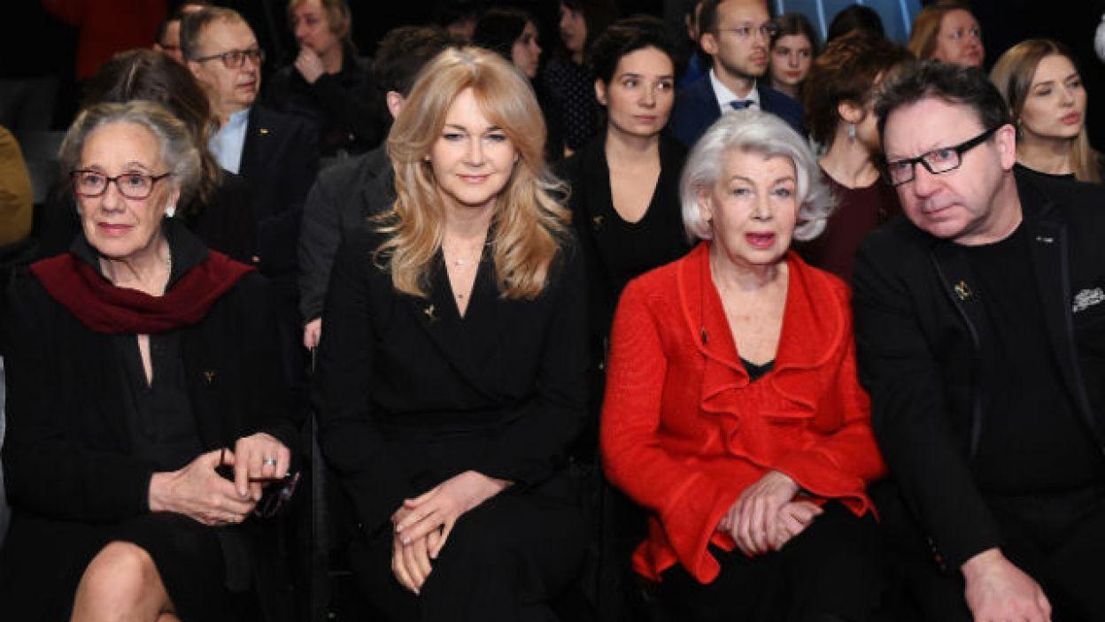 Maja Komorowska, Grażyna Torbicka, Ewa Braun oraz Zbigniew Zamachowski  podczas ogłoszenia nominacji do Orłów 2018 (fot. PAP/Radek Pietruszka)