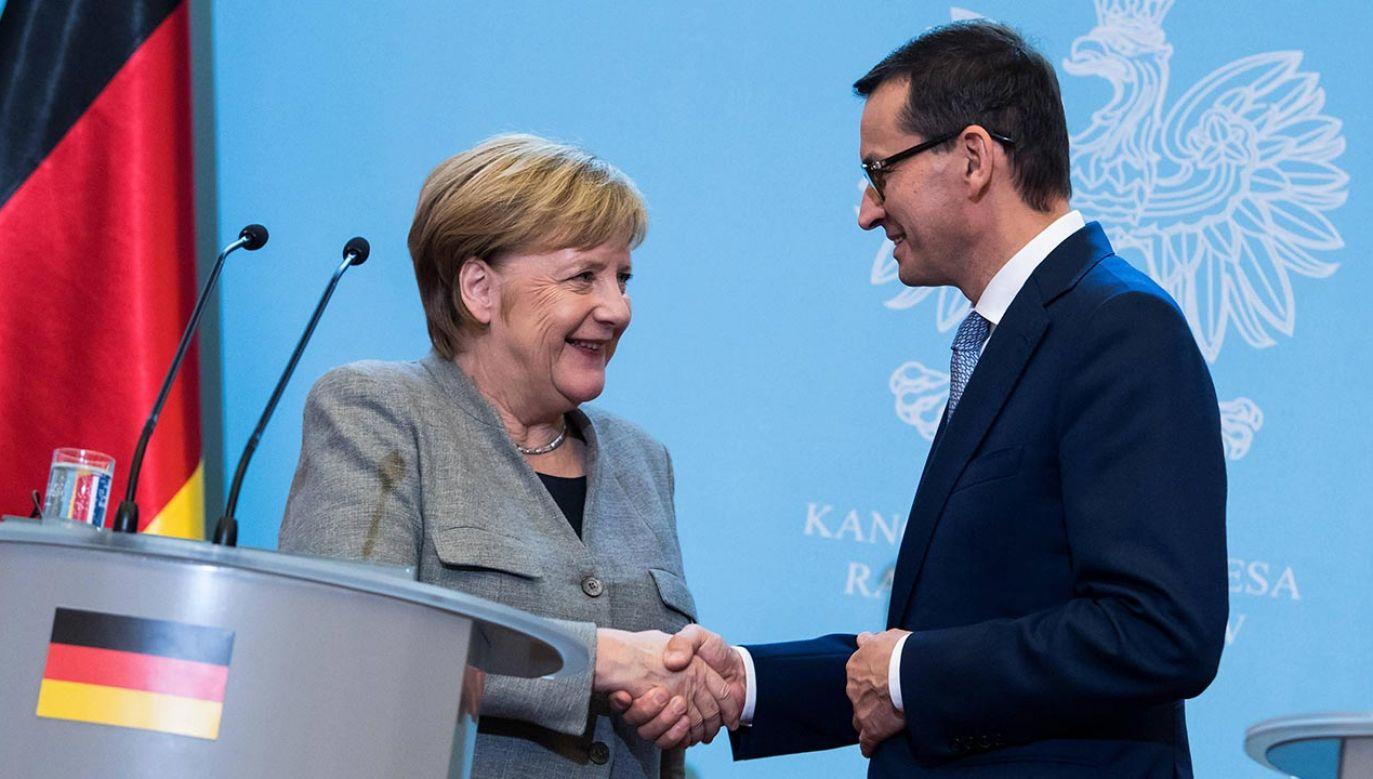 Premier Morawiecki i kanclerz Merkel rozmawiali o elementach agendy przypadających na prezydencję Niemiec w Radzie UE(fot. PAP/DPA/Bernd von Jutrczenka)