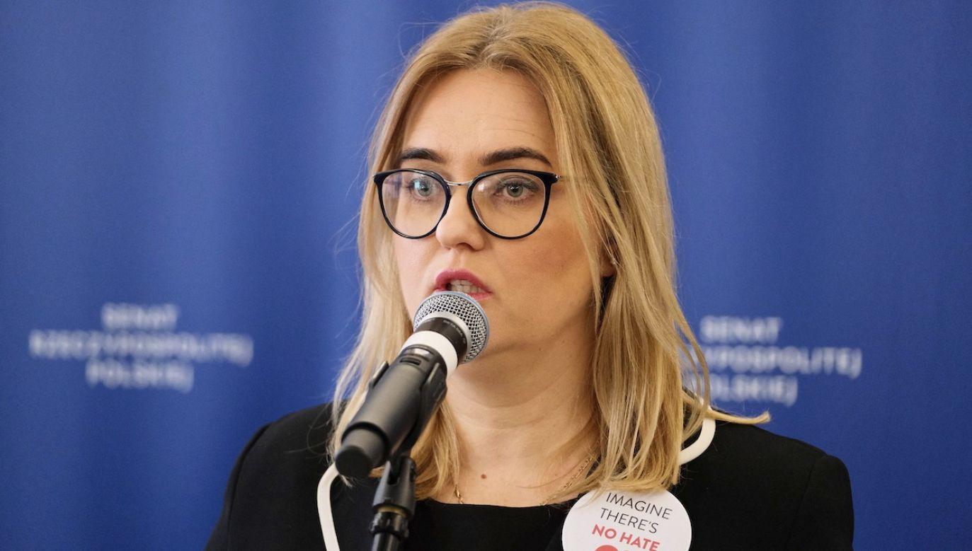 Magdalena Adamowicz to poseł do Parlamentu Europejskiego rekomendowana przez PO. Jej profil twitterowy otwiera baner Rafała Trzaskowskiego (fot. arch.PAP/Mateusz Marek)