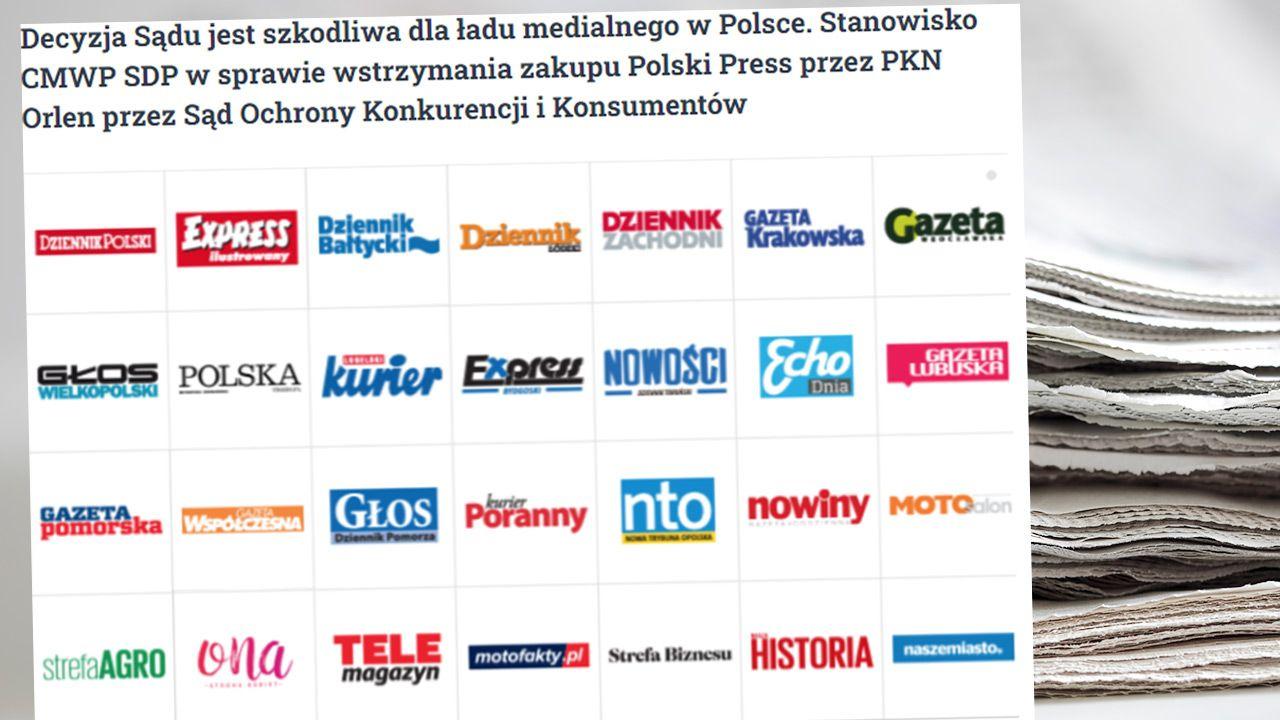 CMWP SDP w sprawie wstrzymania zakupu Polski Press przez PKN Orlen (fot. Shutterstock; TT/Centrum Monitoringu Wolności Prasy SDP)