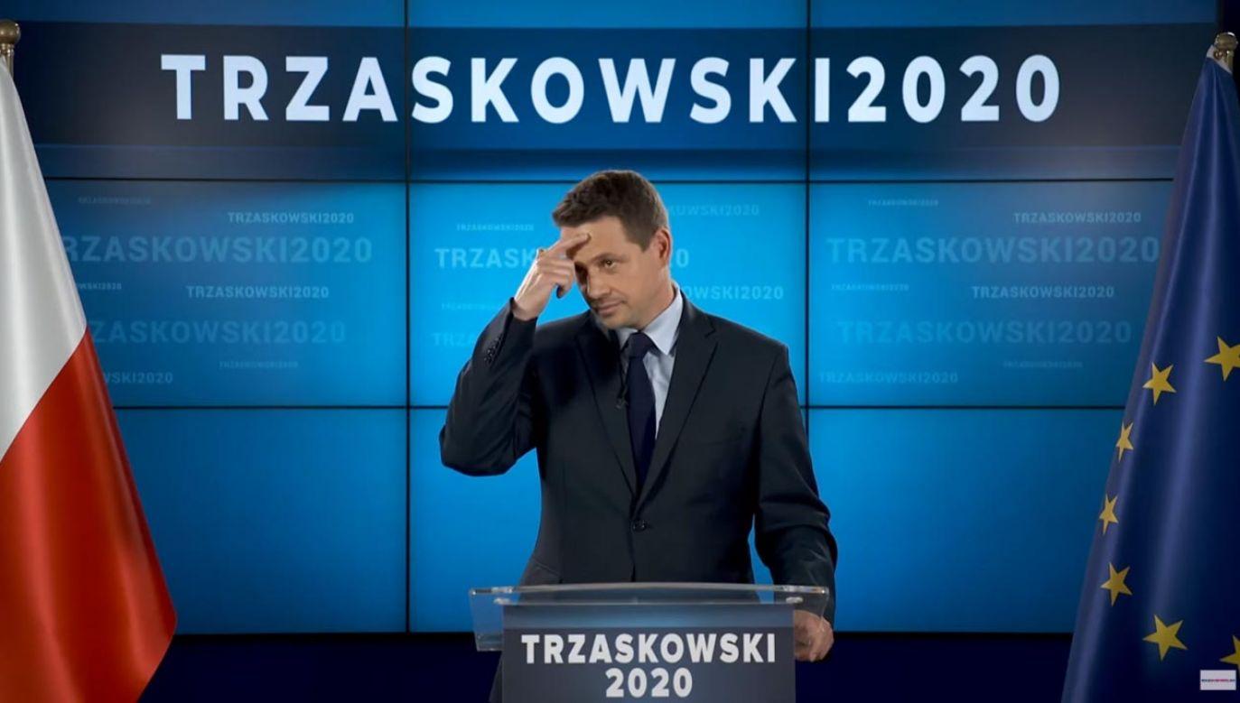 Konferencja Rafała Trzaskowskiego w Biurze Krajowym PO (fot. YouTube/PlatformaObywatelska)