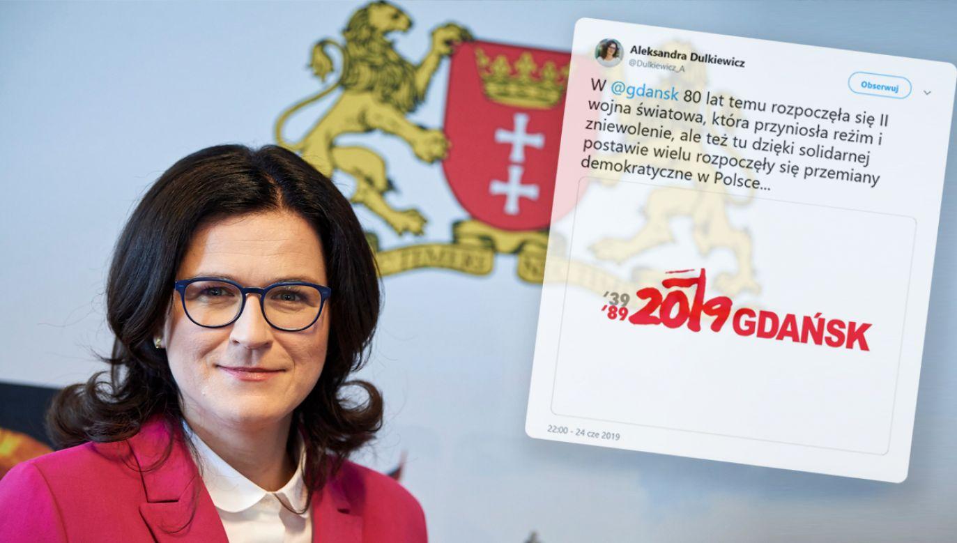 Prezydent Gdańska napisała na Twitterze o wybuchu II wojny światowej. Nie wspomniała jednak o Niemcach jako jej sprawcach (fot. arch. PAP/Adam Warżawa/TT/Aleksandra Dulkiewicz)