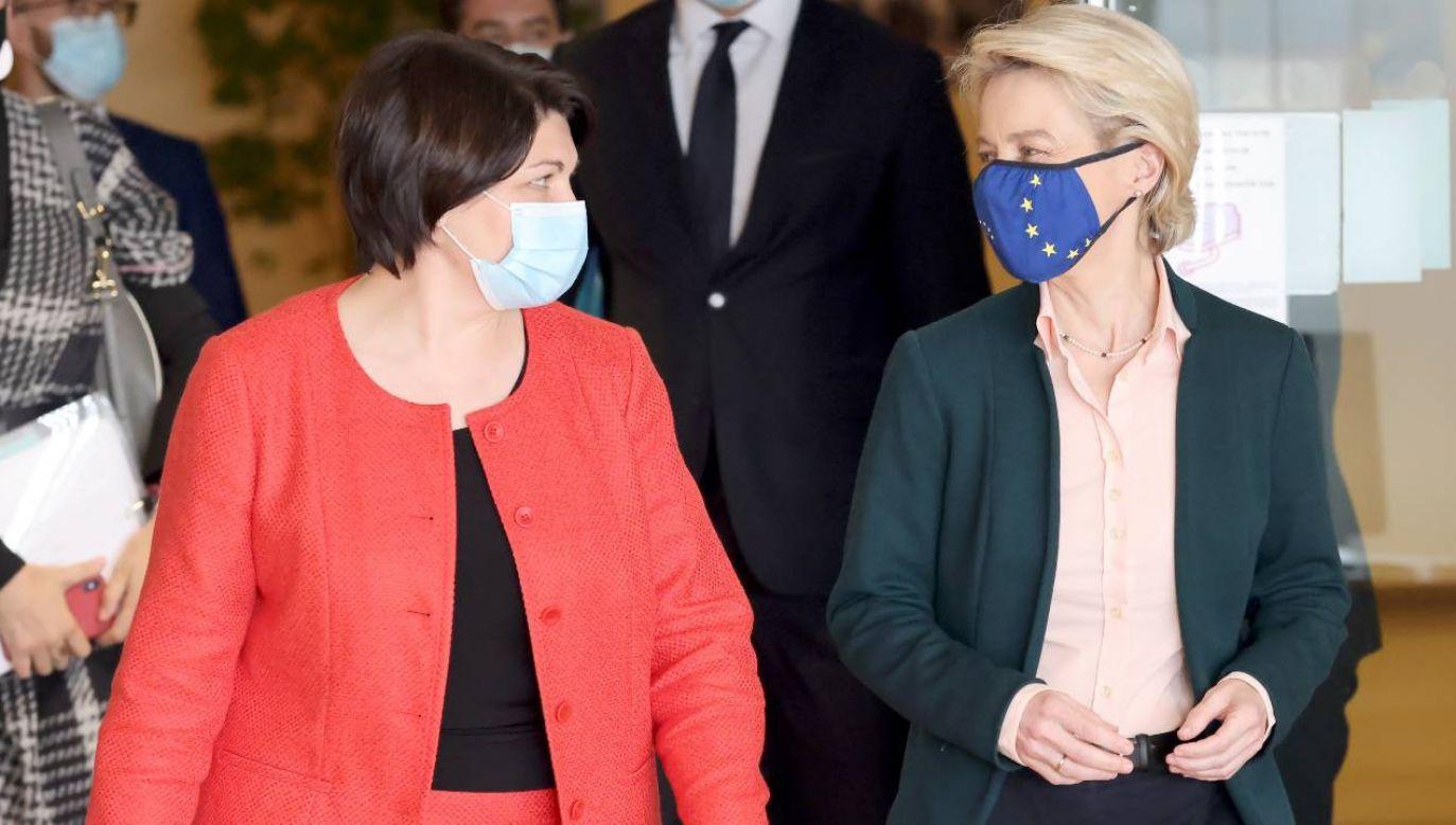 Premier Mołdawii Natalia Gavrilita i szefowa KE Ursula von der Leyen (fot. PAP/EPA/FRANCOIS WALSCHAERTS / POOL)