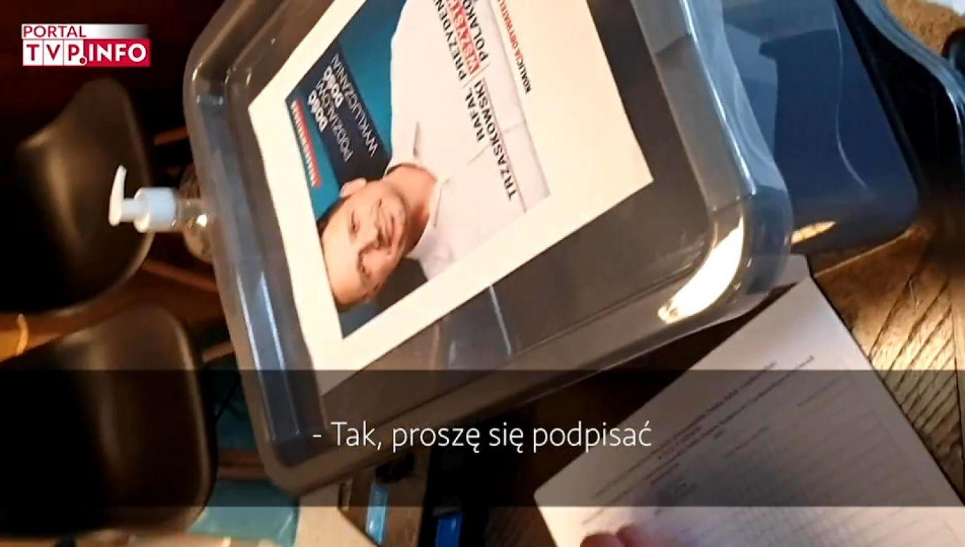 Portal tvp.info ustalił, że w jednym z lokali na terenie stolicy zbierane są podpisy poparcia dla kandydata Koalicji Obywatelskiej (fot. TVP Info)