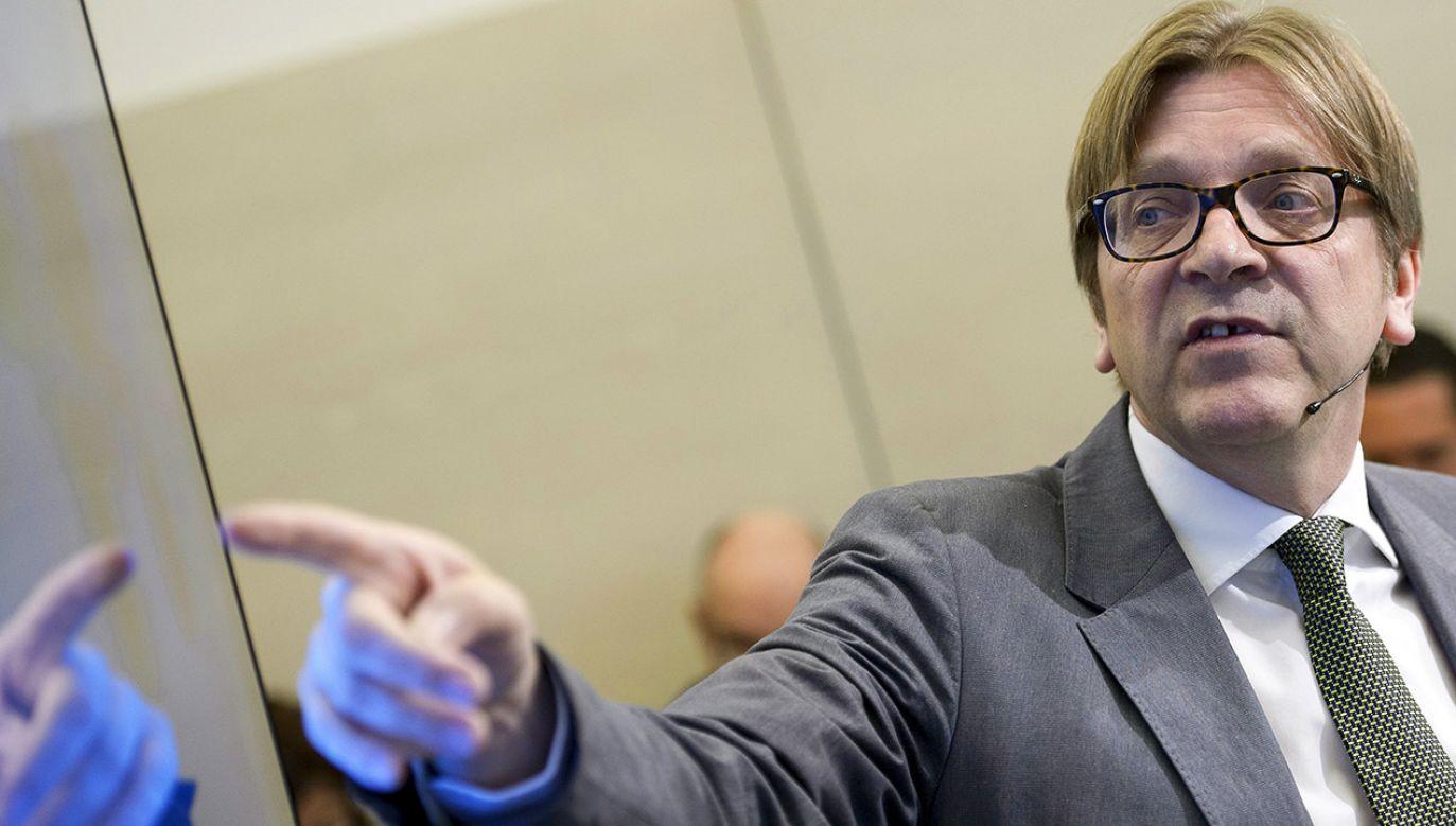 Guy Verhofstadt, przywódca liberalnej frakcji ALDE w Parlamencie Europejskim (fot. Christophe Licoppe/Photonews via Getty Images)